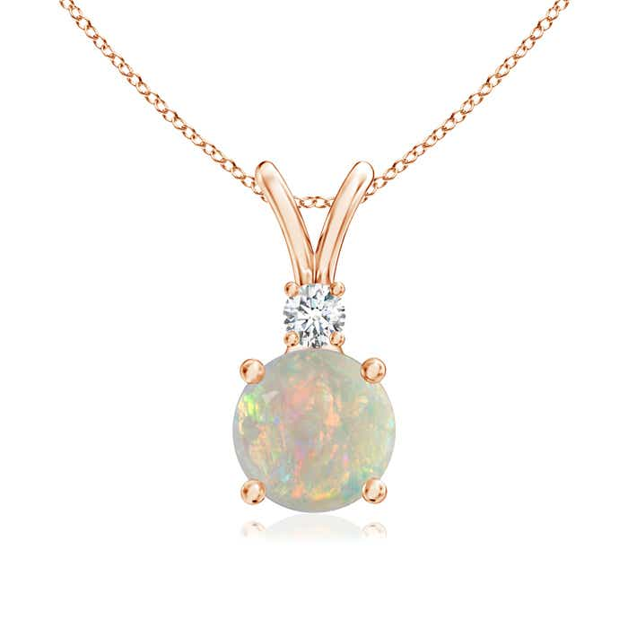 Angara Round Opal Solitaire V-Bale Pendant with Diamond uT77aH