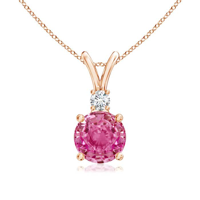 Angara Round Blue Sapphire Solitaire Pendant with Diamond Bale in Rose Gold