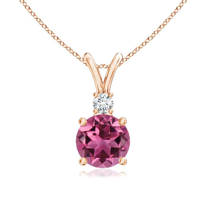 Angara Round Pink Tourmaline and Diamond Two Stone Pendant CwjWf