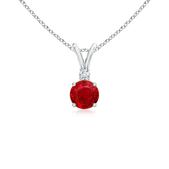 Round ruby solitaire v bale pendant with diamond angara previous mozeypictures Gallery
