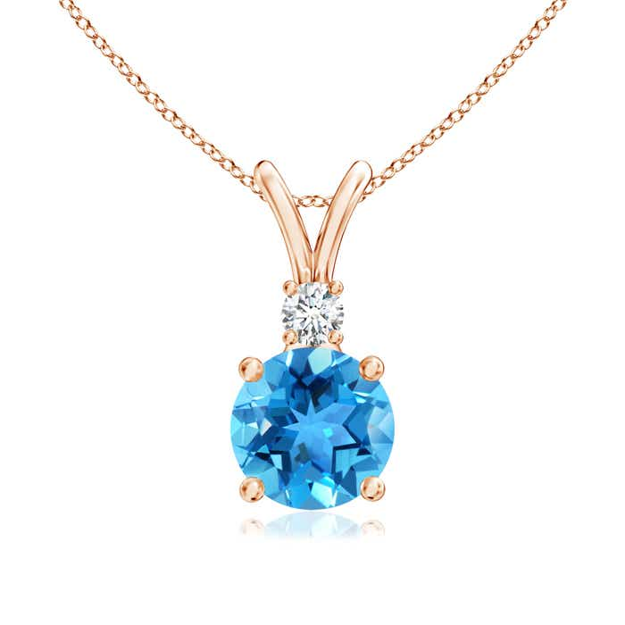 Angara Diamond Swiss Blue Topaz V-Bale Pendant in Yellow Gold