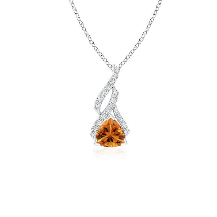 Angara Trillion Citrine Solitaire Pendant with Diamond Swirl in Yellow Gold qf17vl8sxV