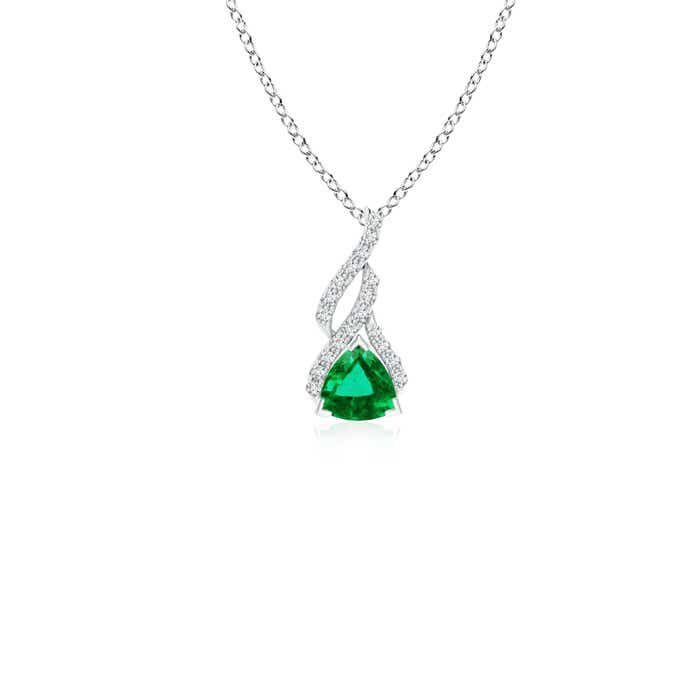 Angara Trillion Emerald Diamond Solitaire Necklace in Platinum zQJIAK92u
