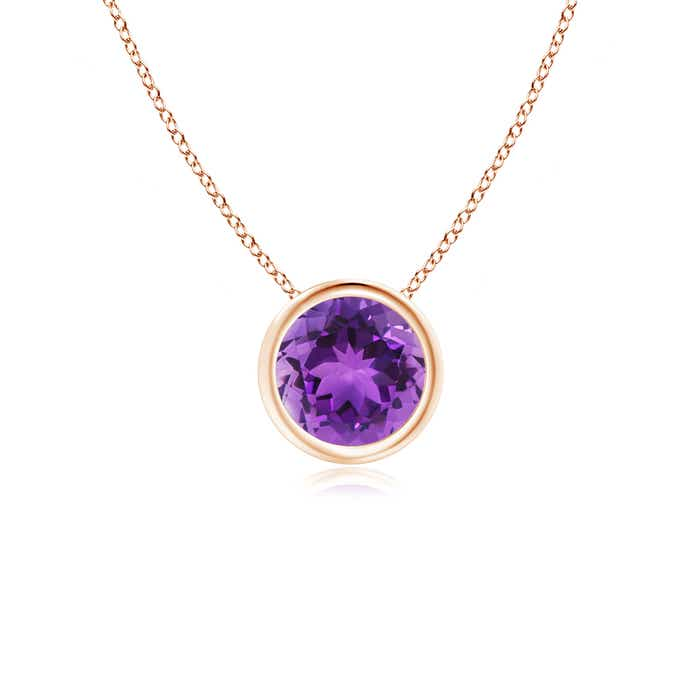 Angara Bezel-Set Amethyst Solitaire Pendant with Diamond QjALNlx0y