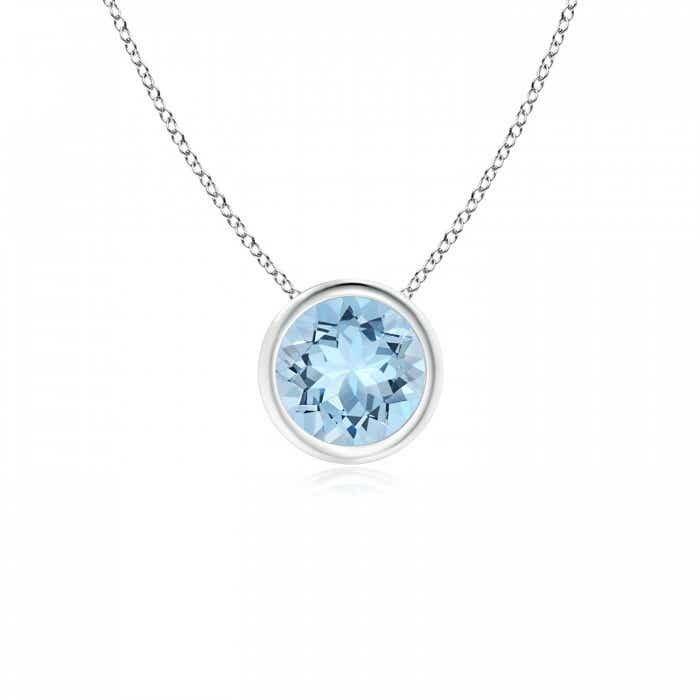 Angara Round Aquamarine Solitaire Pendant for Her in Platinum
