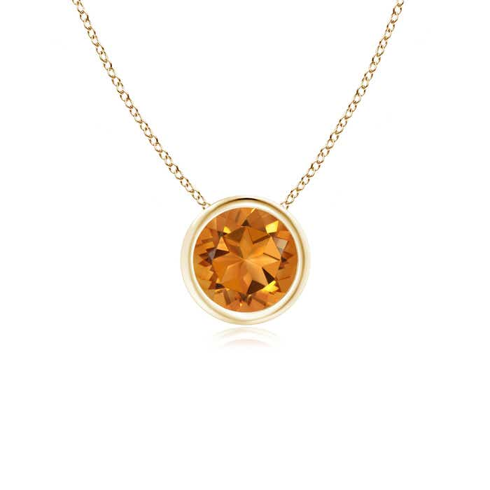 Angara Bezel-Set Citrine Pendant Necklace in Rose Gold raqPqb