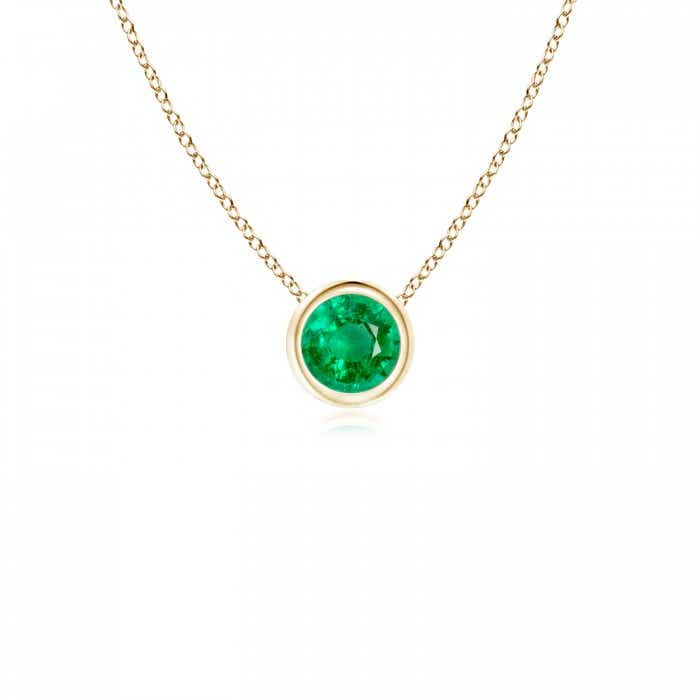 Angara Emerald Solitaire Pendant in Yellow Gold eZENN5HFB