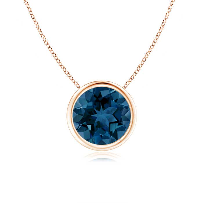 Angara Womens London Blue Topaz Necklace in Rose Gold NIfgJqxV1