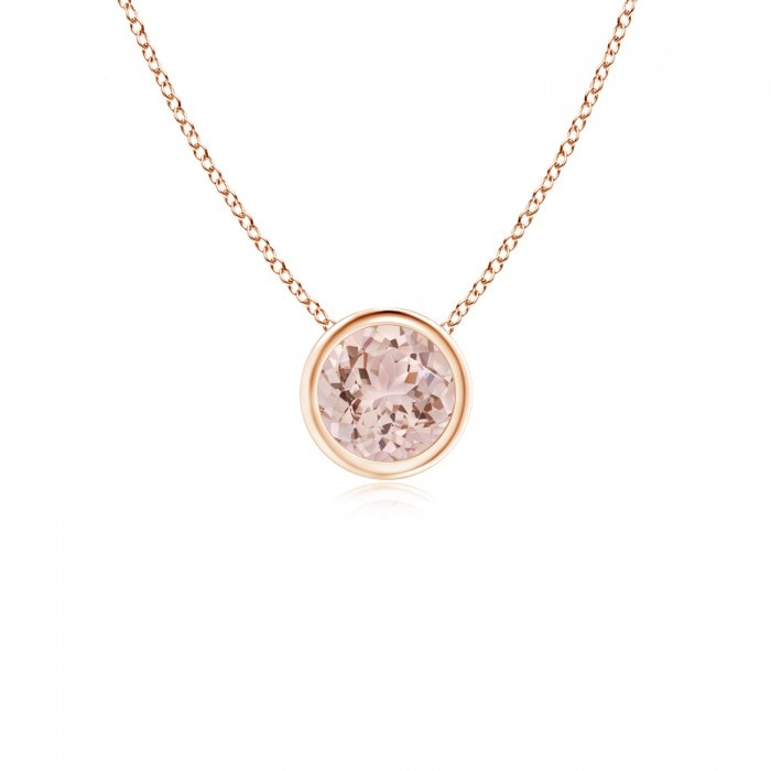 Angara Round Morganite and Diamond Halo Pendant oqYmHiGJj