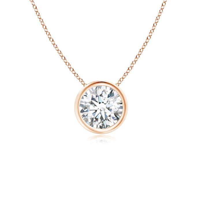 Angara Bezel-Set Moissanite Necklace for Women in Rose Gold xehi8