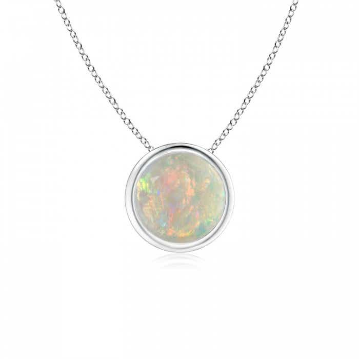 Angara Bezel-Set Opal Pendant Necklace in White Gold S3FuqWW