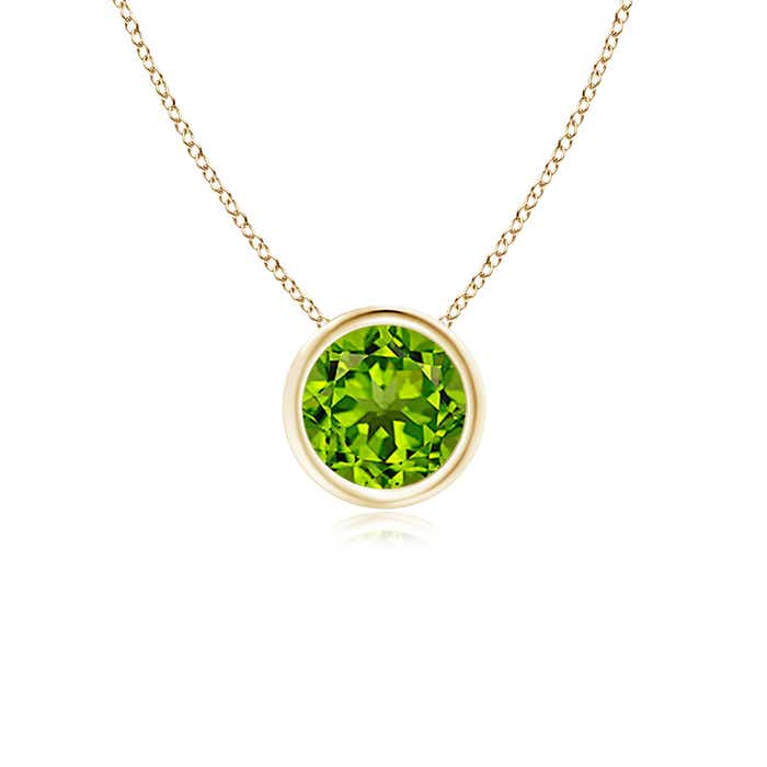 Angara Solitaire Peridot Necklace in Rose Gold