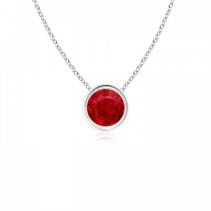 Angara Bezel-Set Ruby Pendant Necklace in Rose Gold
