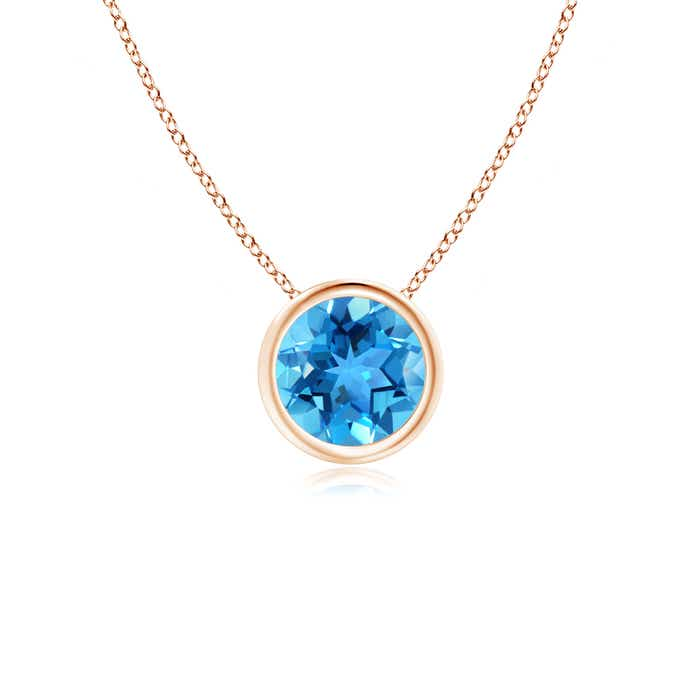 Angara Solitaire Round Swiss Blue Topaz Pendant with Diamond Bale HH7UuEWTn