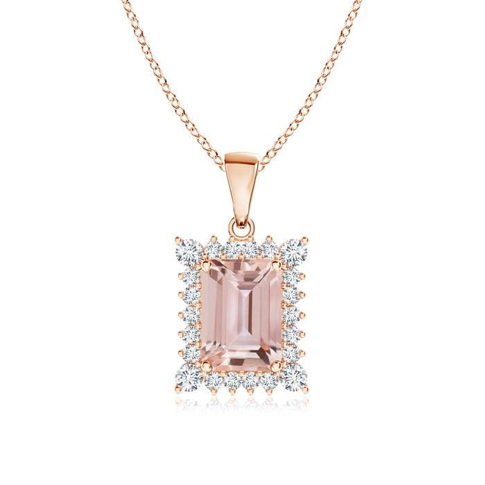 Angara Morganite and Diamond Halo Vintage Necklace in White Gold