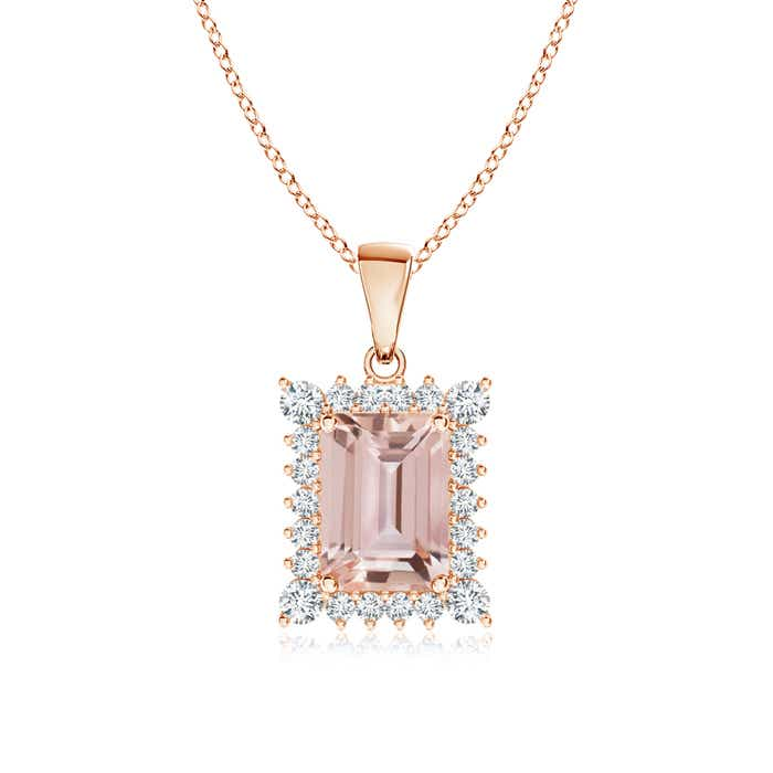 Angara Morganite and Diamond Halo Vintage Necklace in White Gold IWbBMfjE