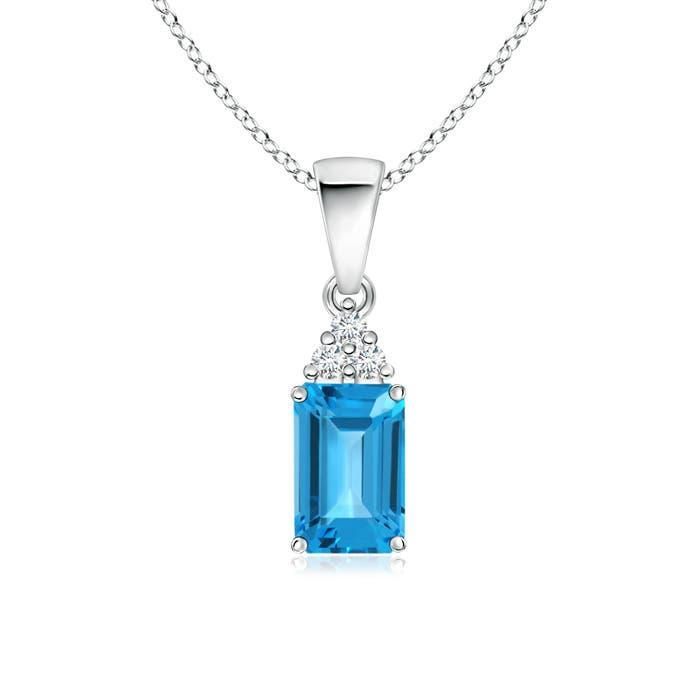 Angara Emerald-Cut Swiss Blue Topaz Pendant with Diamond Trio 3T2U8QP55
