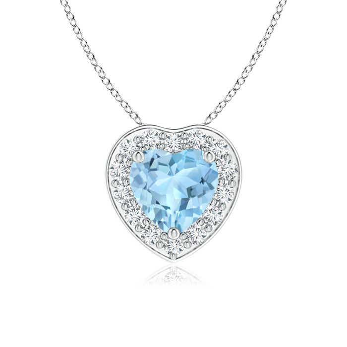Angara Heart-Shaped Aquamarine Pendant with Diamond Halo myxfs