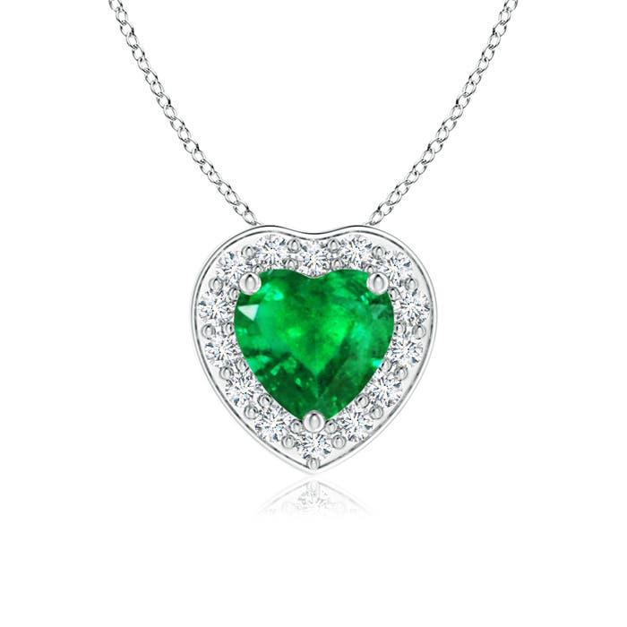 Angara Heart-Shaped Emerald Pendant with Diamond Halo UdXgEVL