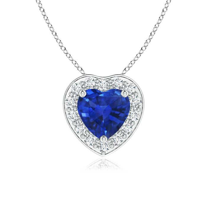 Angara Blue Sapphire Open Heart Pendant in 14k Yellow Gold