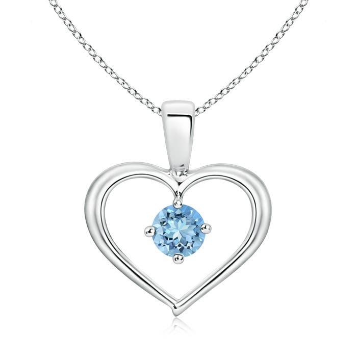 Angara Solitaire Round Peridot Open Heart Pendant VfQm7okbBg