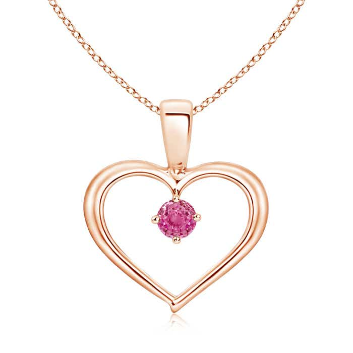 Angara Solitaire Round Pink Sapphire Open Heart Pendant in Yellow Gold OXPwPtydqV