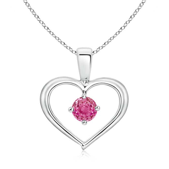 Angara Solitaire Round Pink Sapphire Open Heart Pendant in Yellow Gold jia8R