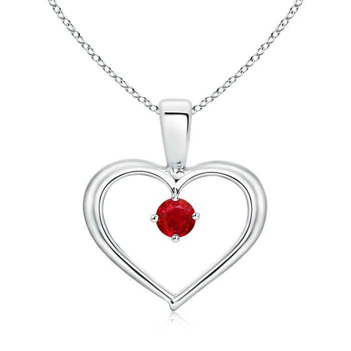 Angara Solitaire Ruby Heart Necklace in 14k White Gold nLxQIGd5Y
