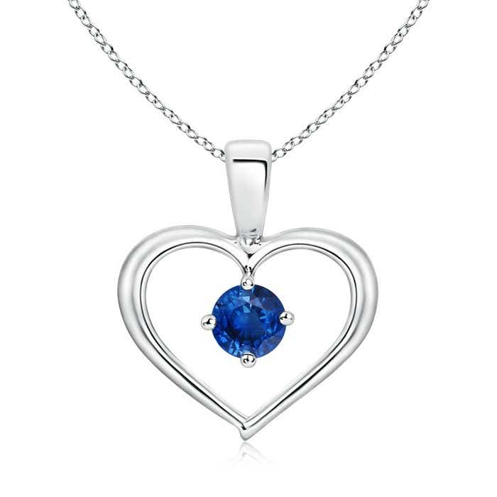 Angara Blue Sapphire Open Heart Pendant in 14k Yellow Gold W8emN4nzWC