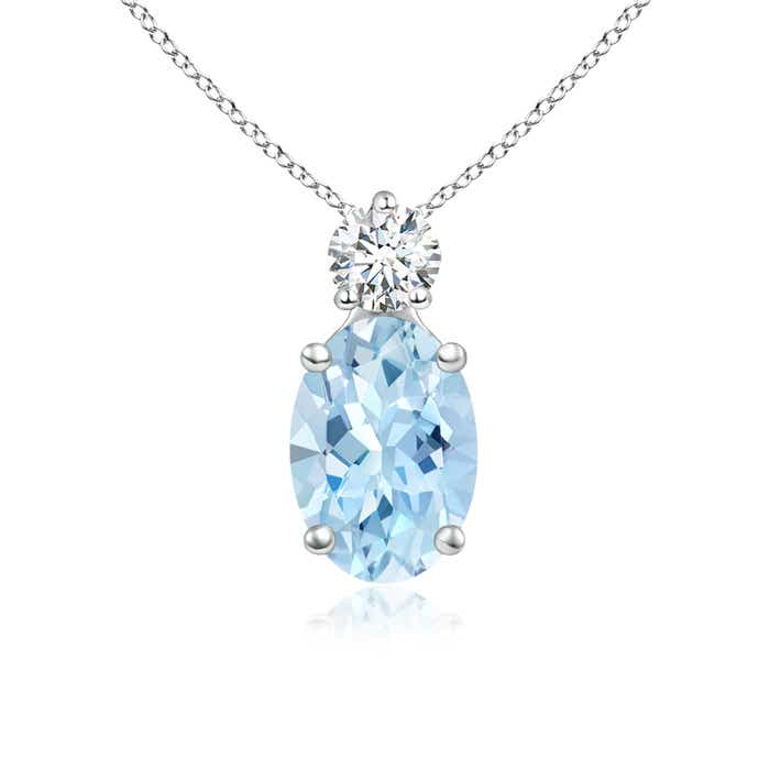 Angara Oval Aquamarine Solitaire Pendant with Trio Diamond 1tUk9Js1