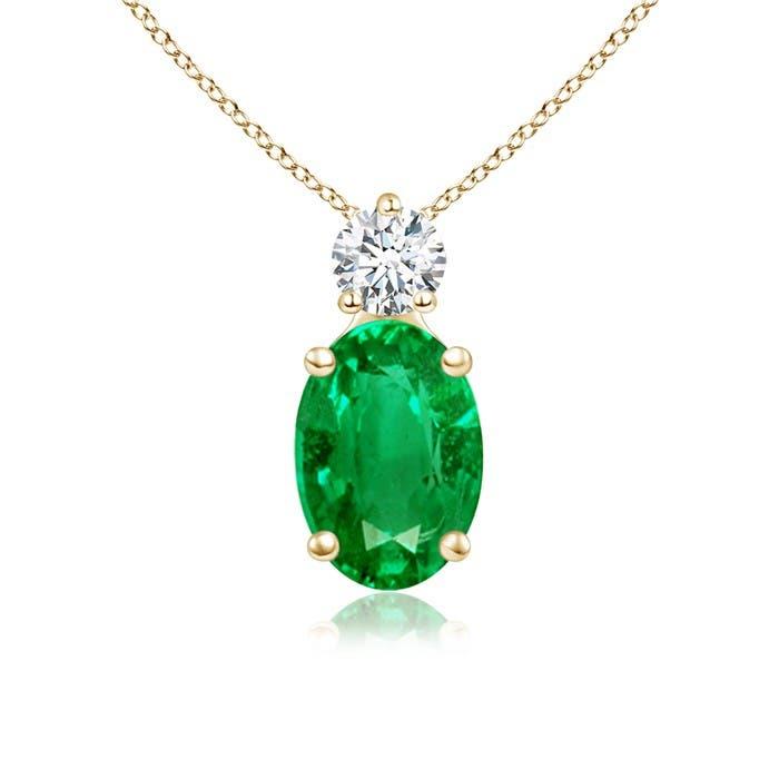 Angara Oval Emerald Solitaire Pendant with Diamond ARCEIor780