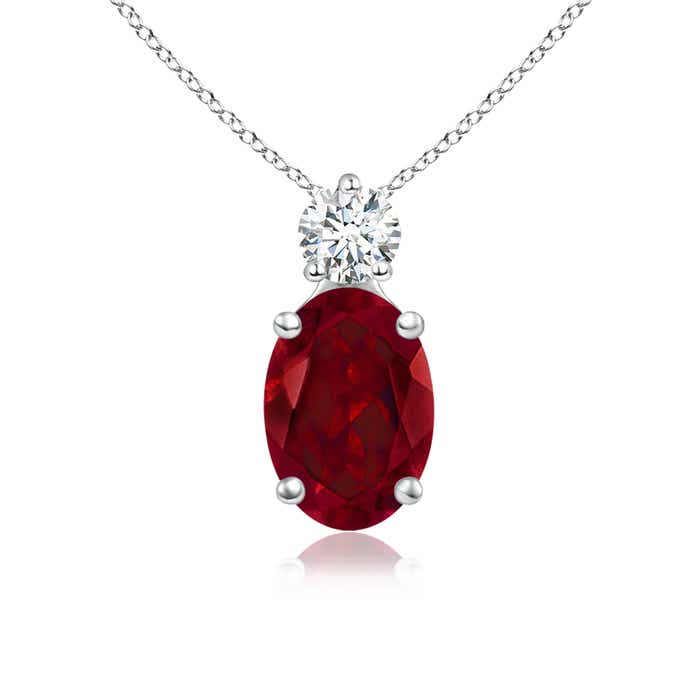 Angara Oval Garnet Pendant with Diamond Bale