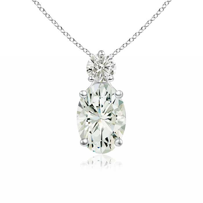 Angara Round Moissanite Solitaire Necklace in Rose Gold vnONXkRG