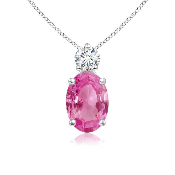 Angara Oval Pink Sapphire Solitaire Pendant with Diamond DR0Go