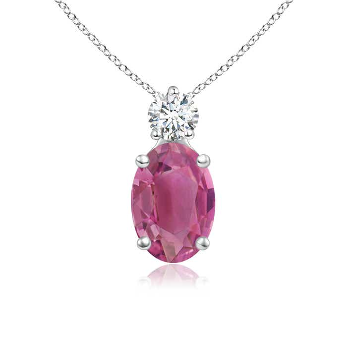 Angara Solitaire Round Pink Tourmaline Necklace in Yellow Gold