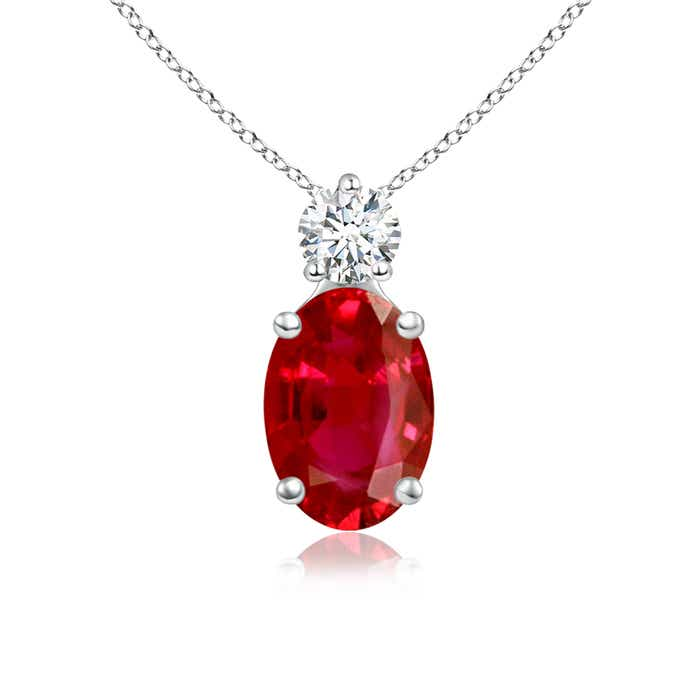 Angara Oval Ruby Solitaire Pendant with Diamond