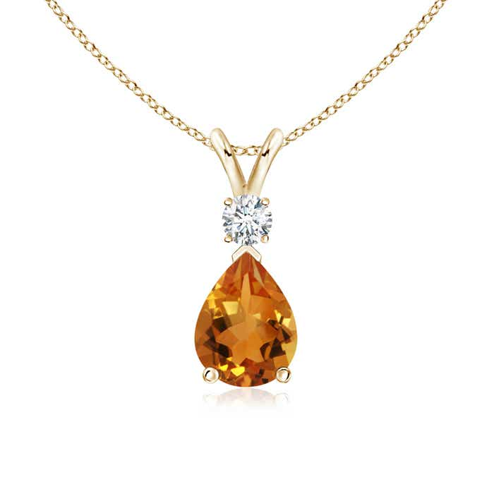 Angara Pear Drop Citrine and Diamond Necklace in Rose Gold