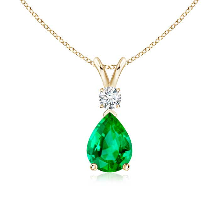 Angara Emerald Pendant - GIA Certified Emerald Teardrop Pendant with Diamond Halo
