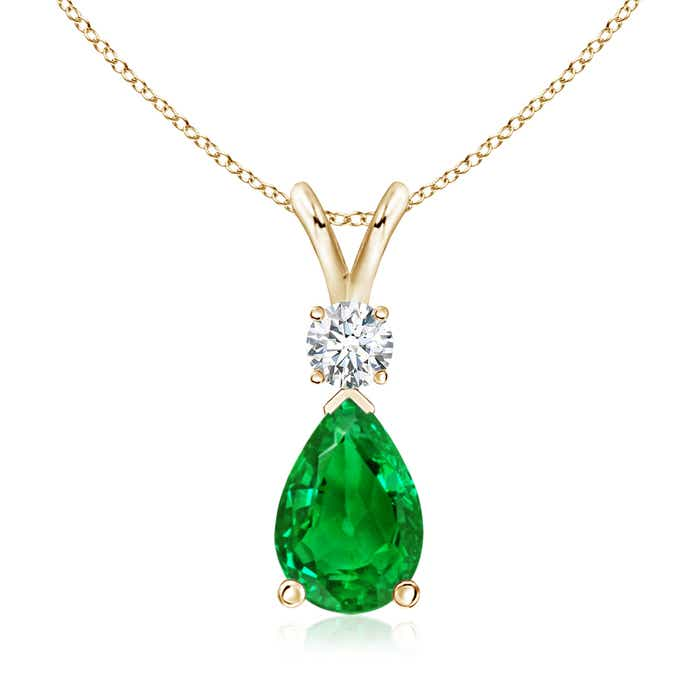 Angara Emerald Solitaire Pendant in Yellow Gold
