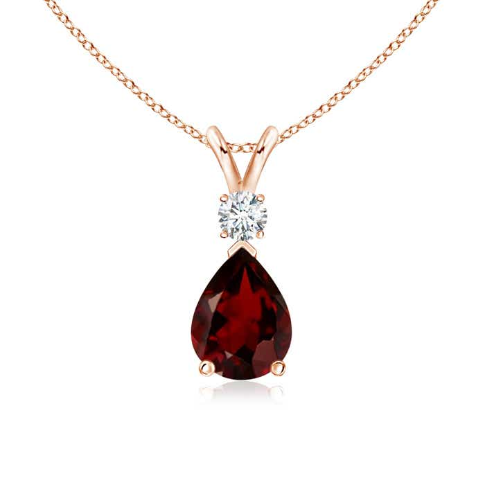Angara Diamond Halo Garnet Drop Necklace in Yellow Gold x7kG3pm1YE