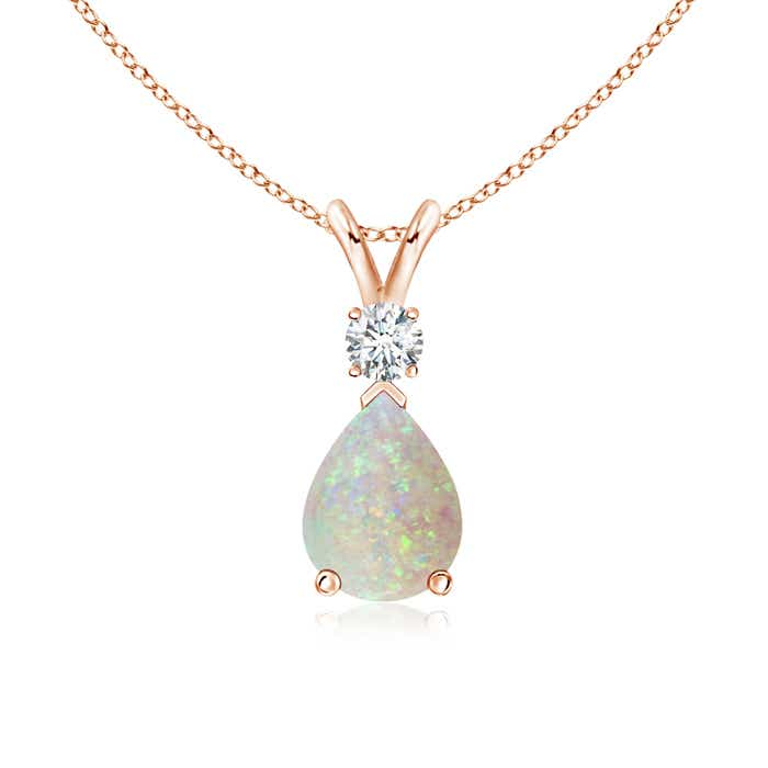 Angara Opal Solitaire Long Drop Pendant with Diamond Studded Bale