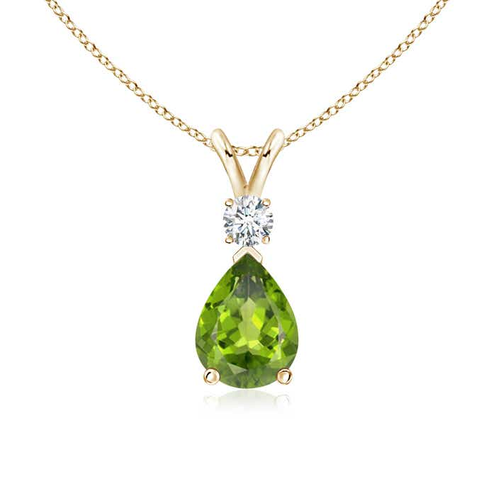 Angara Peridot Pendant in Yellow Gold