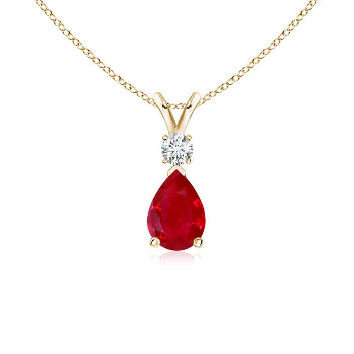 Angara V-Bale Ruby Pendant Necklace Yellow Gold