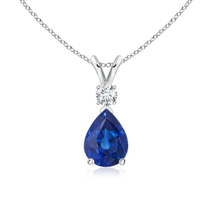 Lovely Blue Sapphire Teardrop Pendant with Diamond MH09
