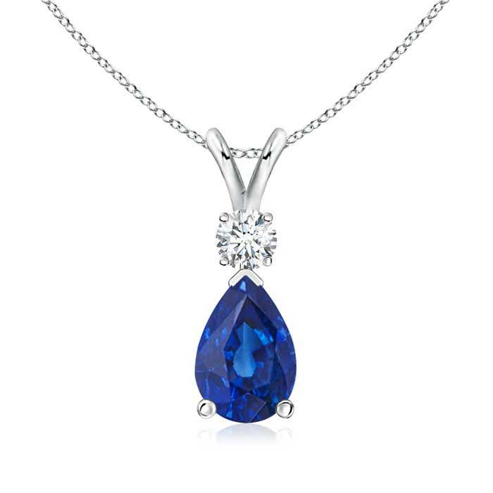 Angara Blue Sapphire Pendant in White Gold Nky7by