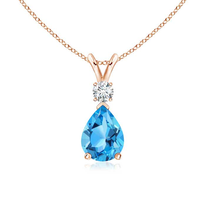 Angara Claw-Set Swiss Blue Topaz Drop Pendant with Trio Diamonds
