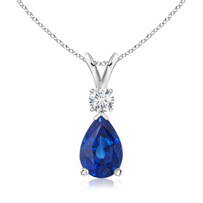 Angara Blue Sapphire Pendant - GIA Certified Blue Sapphire Necklace in 18k White Gold 469UhL9R