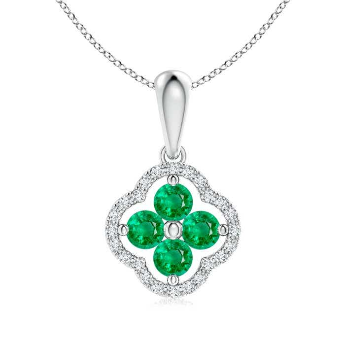 Angara Womens Emerald Necklace in Rose Gold