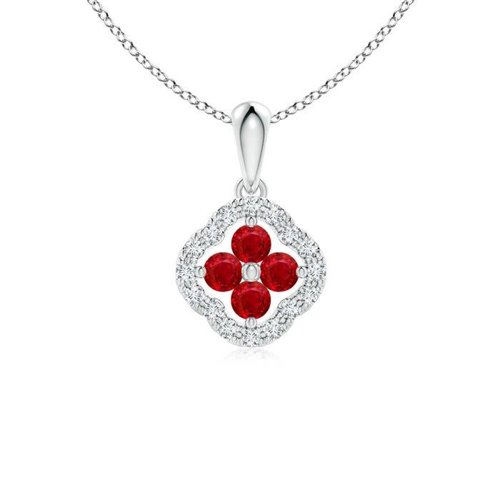 Angara Diamond Framed Ruby Clover Pendant virwFLf6E