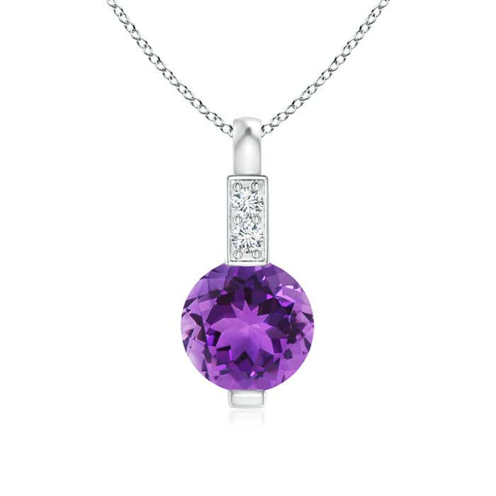 Angara Round Amethyst Solitaire V-Bale Pendant with Diamond wVje5h